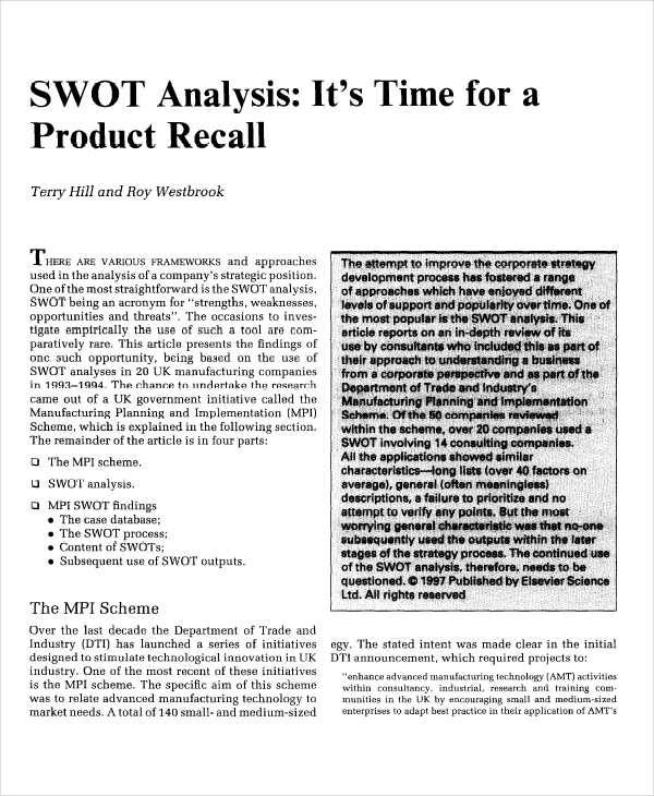 product swot