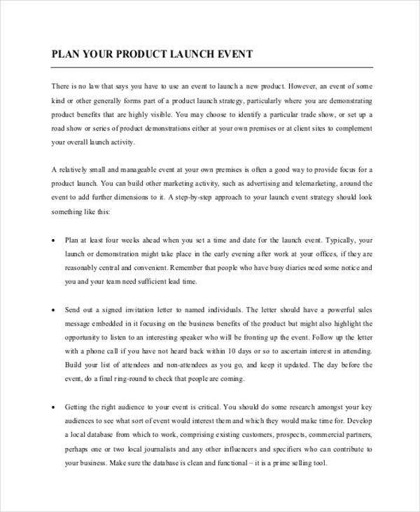 product launch event plan