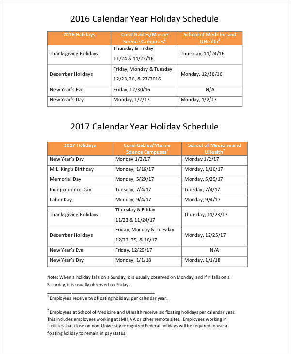 professional calendar with holiday1