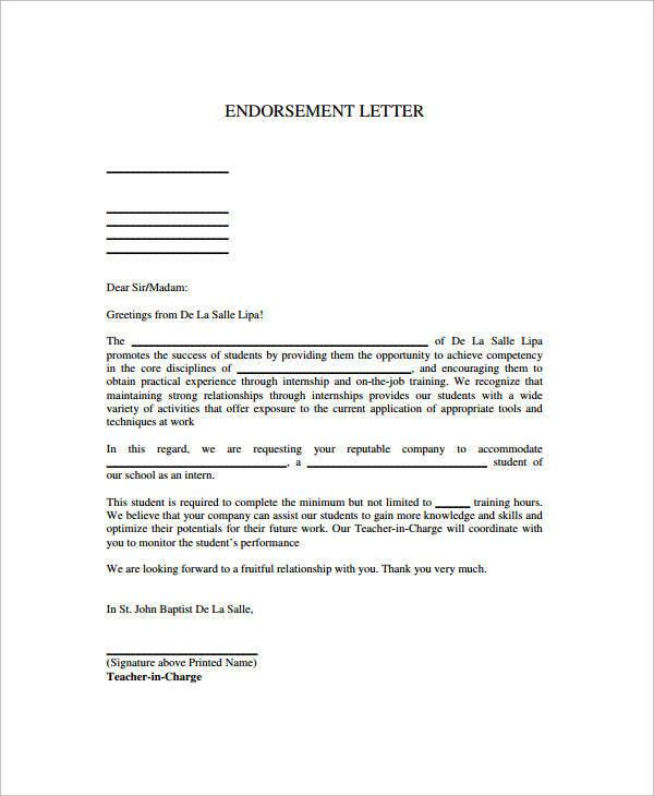 professional endorsement letter