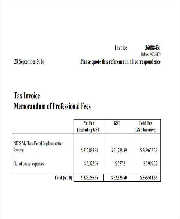 professional fee invoice