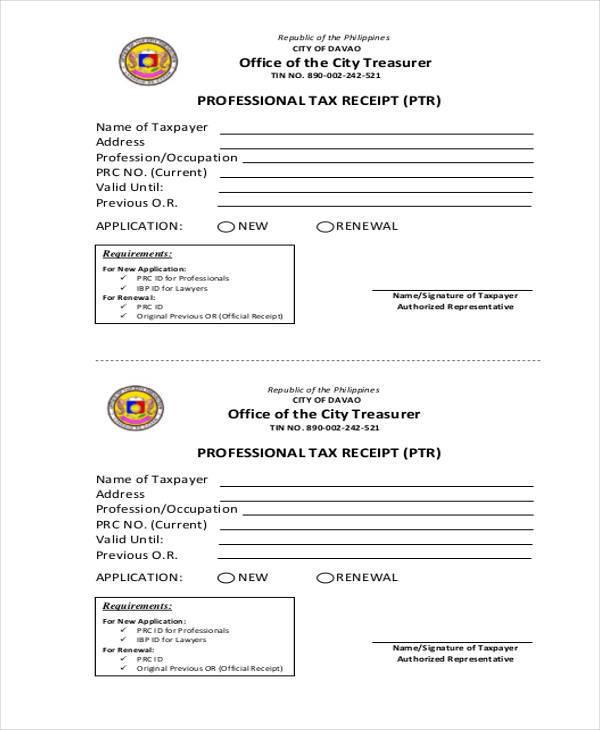 professional tax receipt