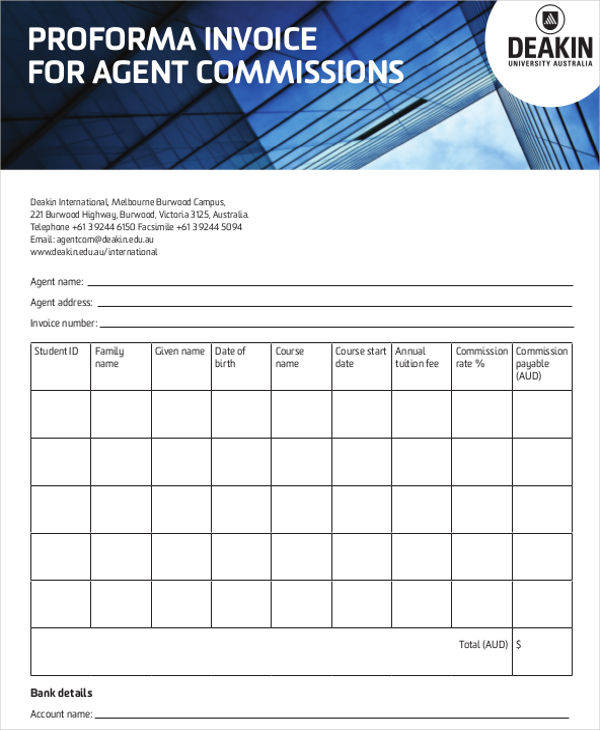 proforma invoice agent commission1