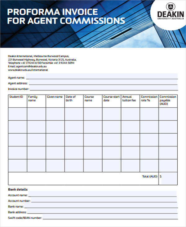 proforma invoice for agent commission2