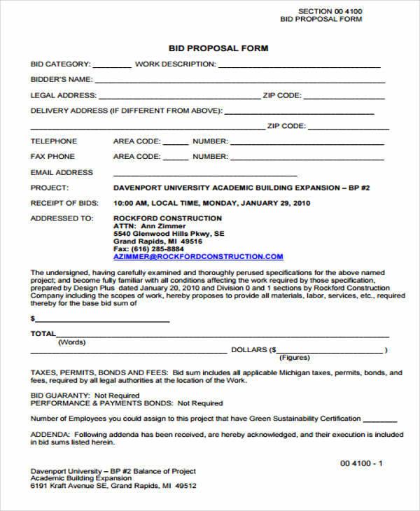 project bid proposal