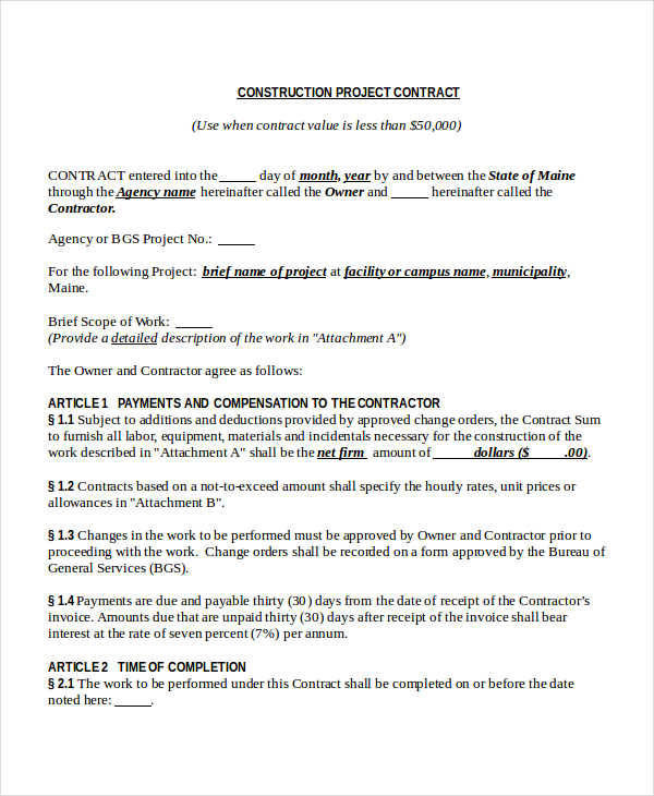 Project Construction Contract  Project Contract Template