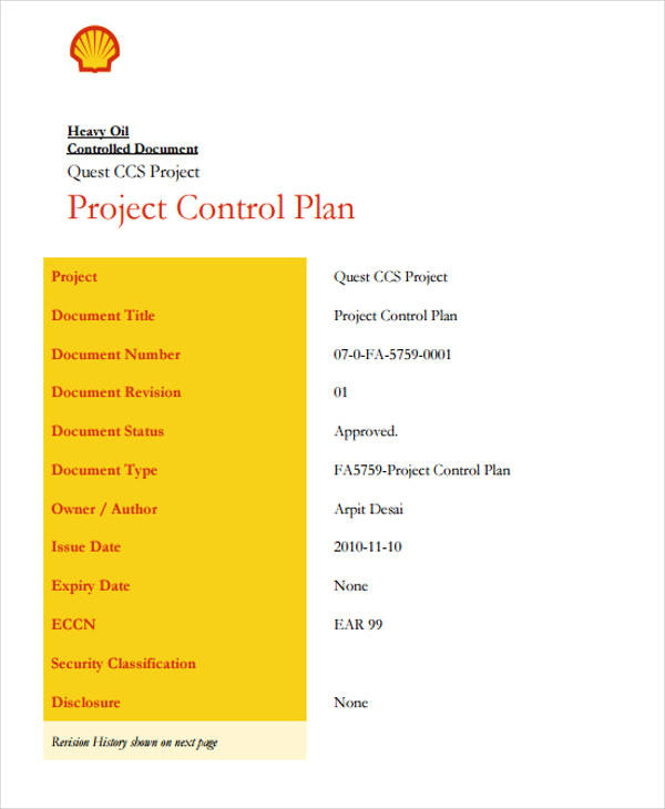 project control plan