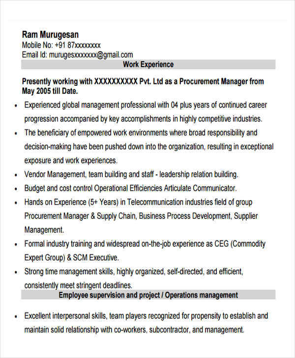 43+ Manager Resume Samples in PDF | Sample Templates