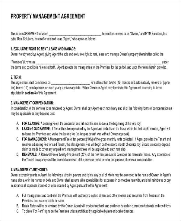 Management Agreements  Free Sample Example Format Download