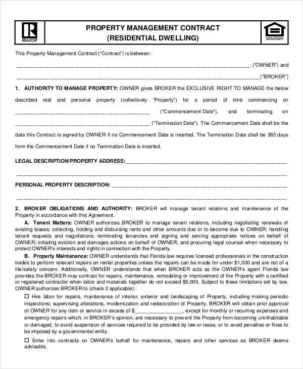 Property Contract Samples  Templates In Pdf