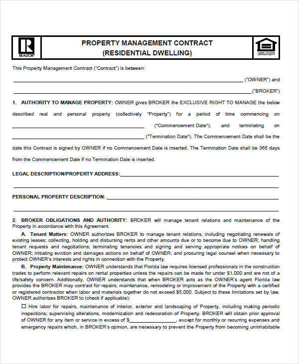 7 management contract template free sample example for Land management plan template