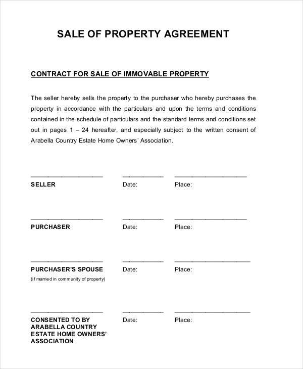property sale contract