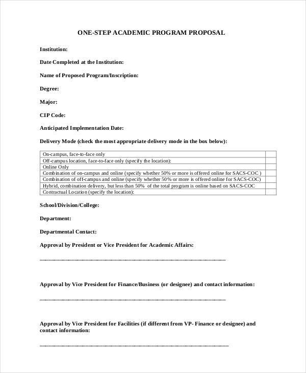proposal for academic program