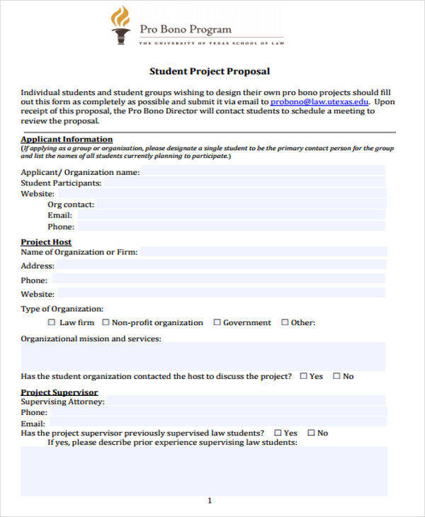 proposal for student project