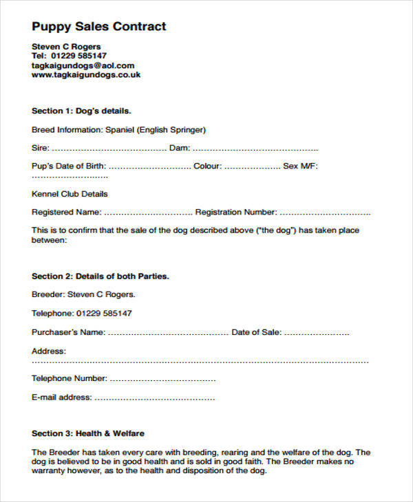 Puppy Sales Contract Form  Buyers Contract Template