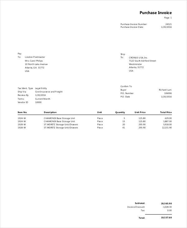 purchase invoice
