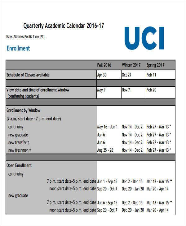 quarterly academic calendar1