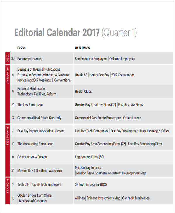 Quarterly Calendar Template  Free Sample Example Format Download