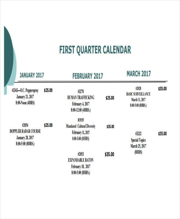 quarterly training calendar