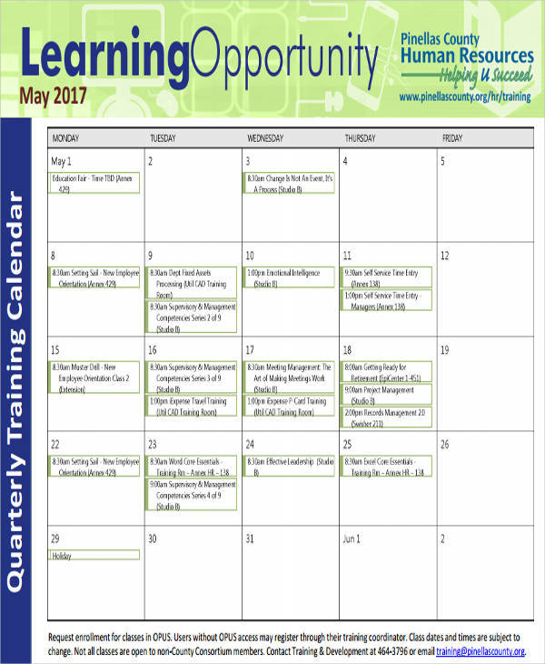quarterly training calendar1