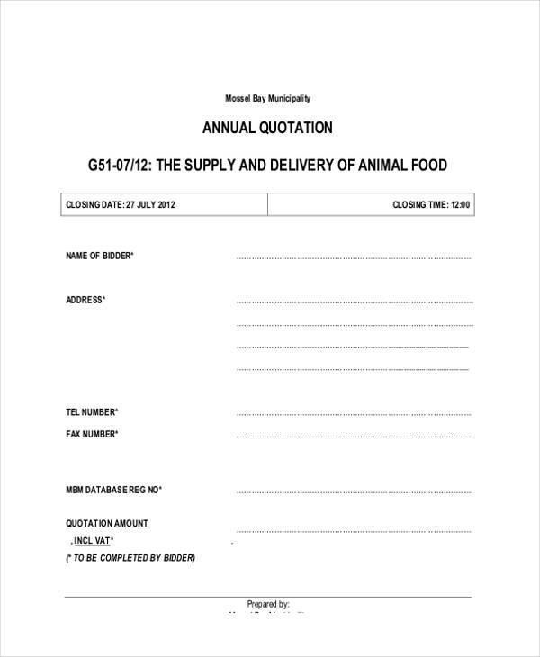 quotation for food supply