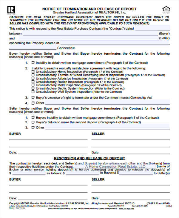 real estate contract termination3