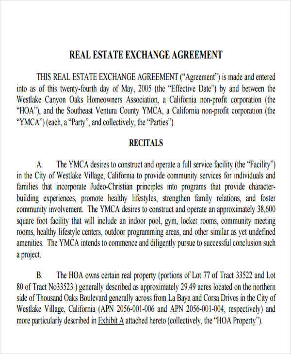 Exchange Agreements  Examples In Word Pdf
