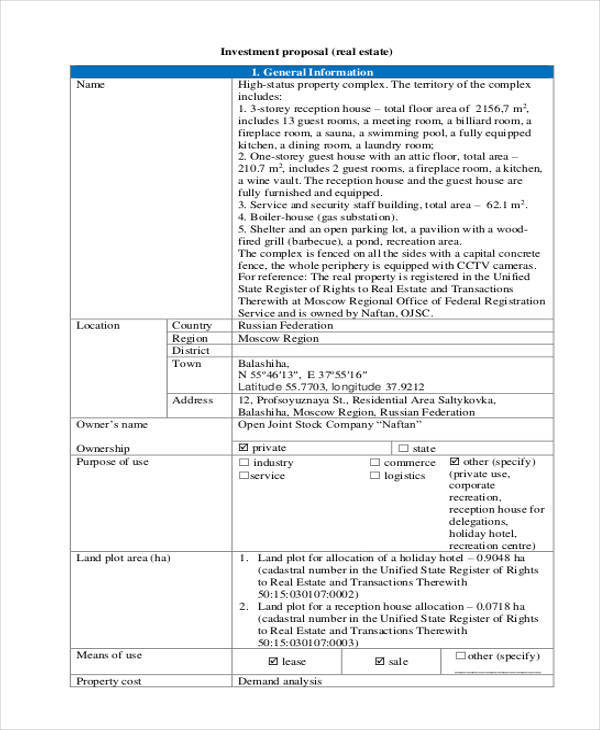 Investment Proposals  Free Sample Example Format Download