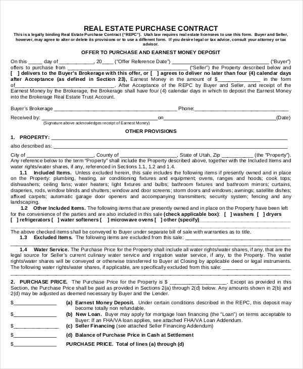 12 Purchase Contract Templates Free Sample Example Format Download – Real Estate Contract Template