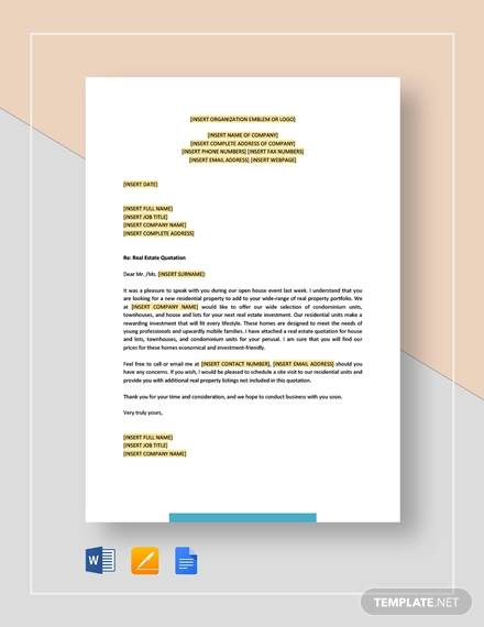 real estate quotation template1