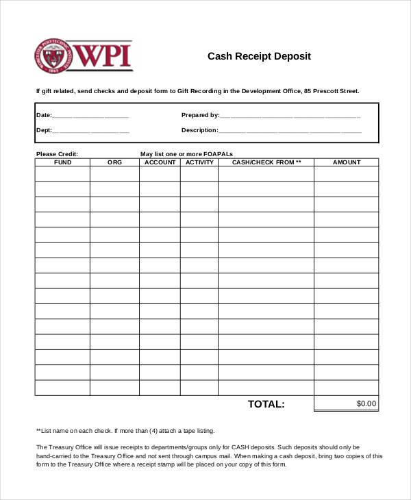 receipt of cash deposit