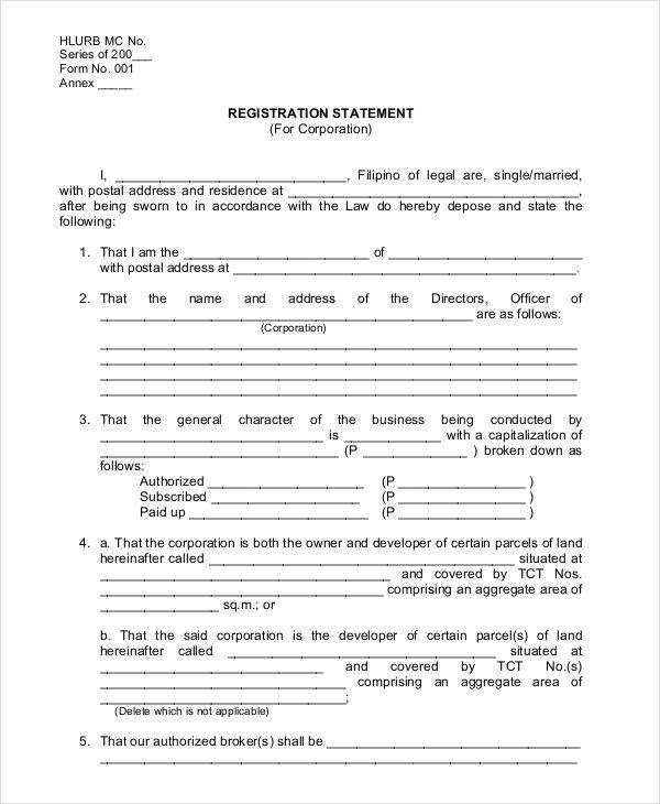 registration statement for corporation