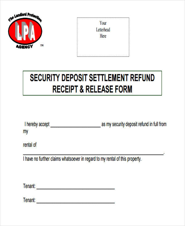 rent deposit refund receipt