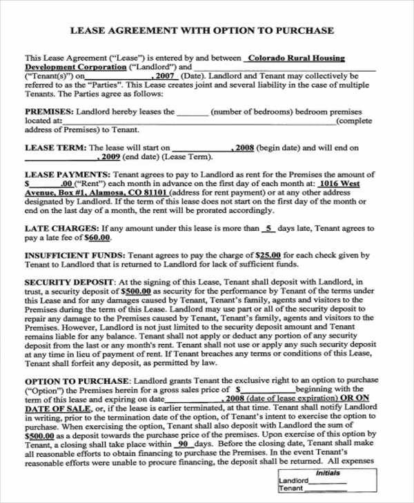 Rent With Option To Buy Contract  Examples In Word Pdf