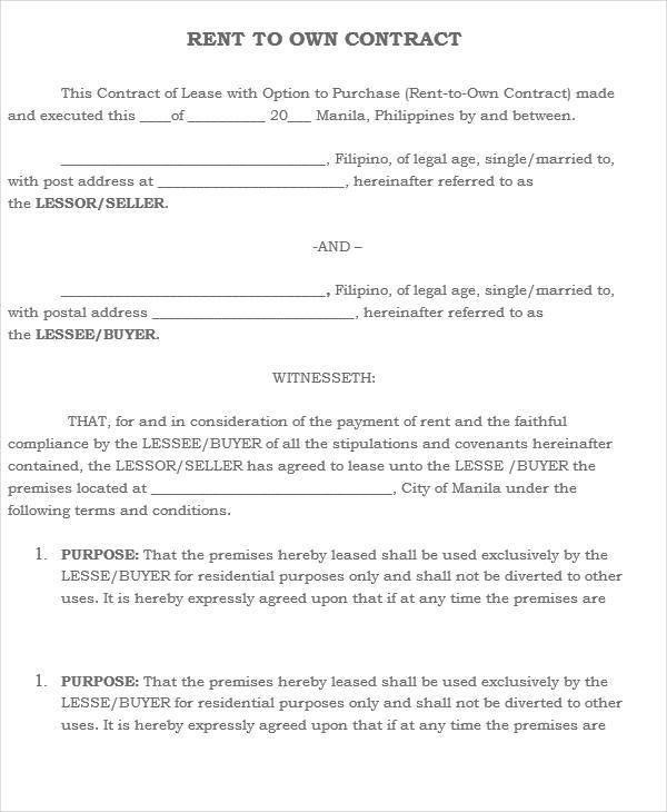 RentToOwn House Contract Samples  Templates  Pdf Doc