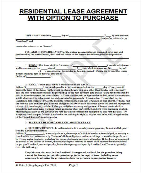 5+ Rent-To-Own Home Contract - Examples In Word, Pdf