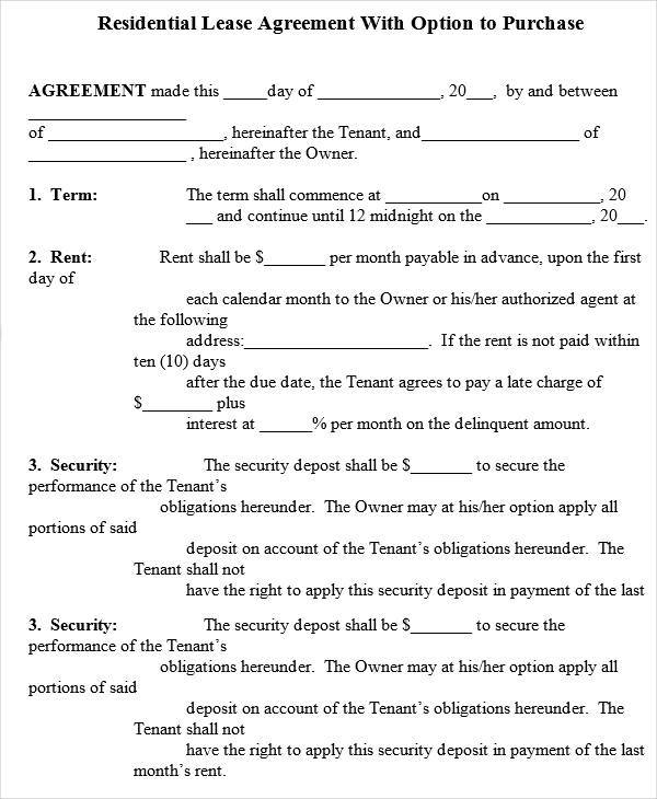 RentToOwn House Contract Forms  Examples In Word Pdf