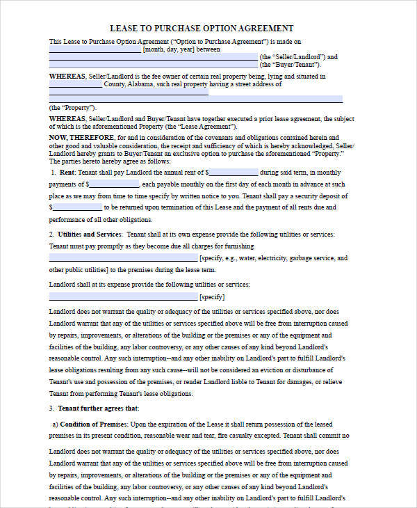6+ Rent-To-Own House Contract Forms - Examples In Word, Pdf