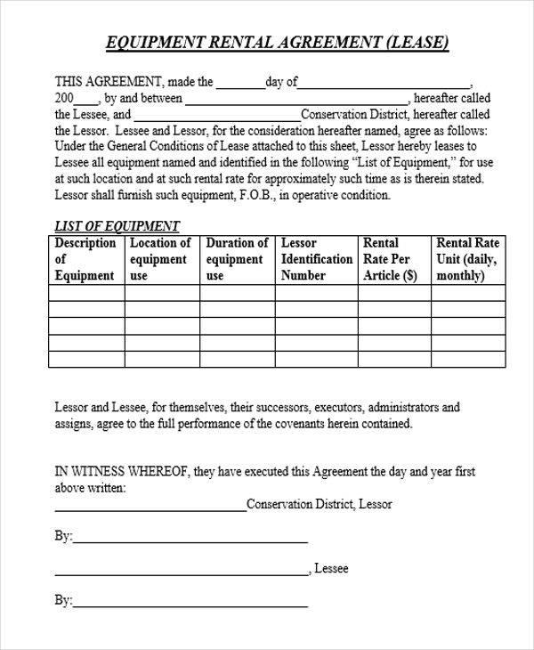rental equipment contract
