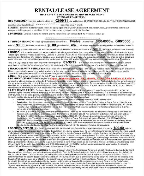 rental lease contract