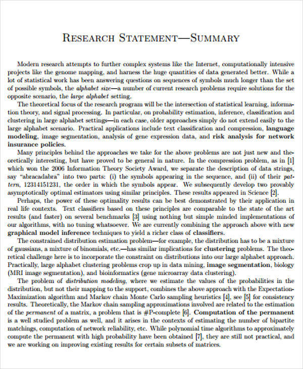 research summary statement