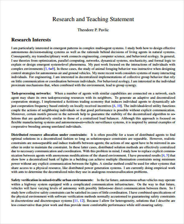 research teaching statement