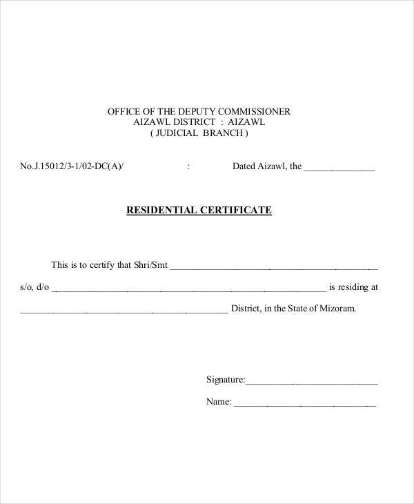 residential proof certificate