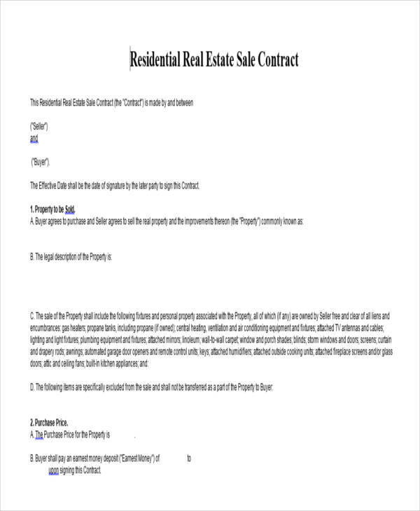 Sales Contract For House  LondaBritishcollegeCo