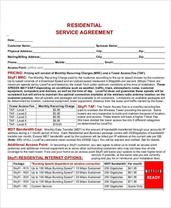 residential service contract