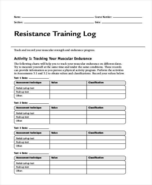 resistance training log