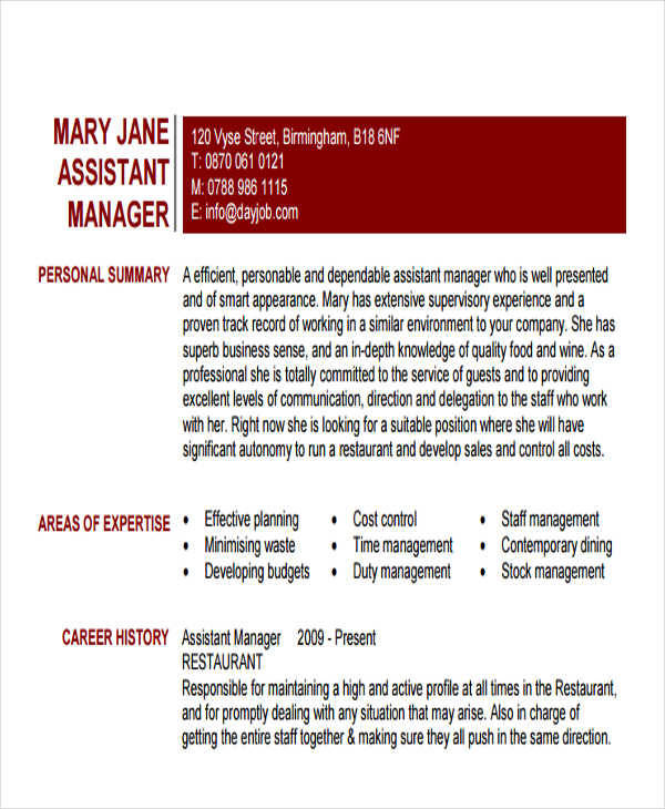 restaurant assistant resume