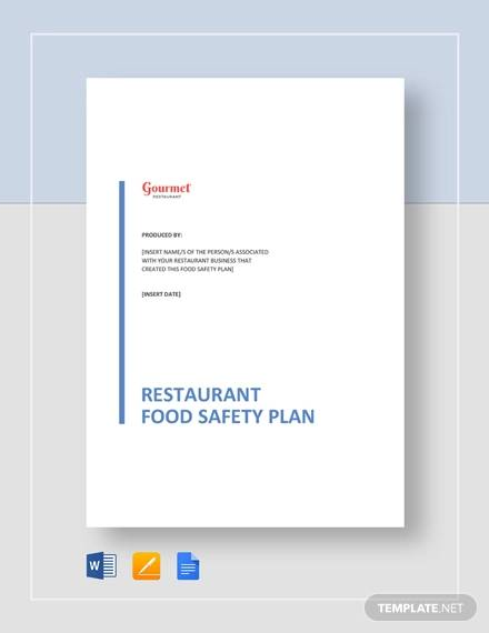 restaurant food safety plan template
