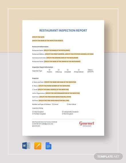 restaurant inspection report