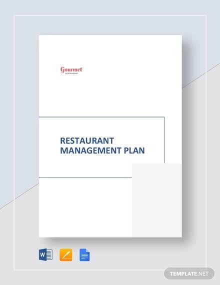 restaurant management plan template
